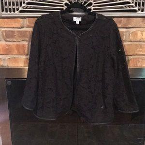 Black Lace jacket with faux leather trim